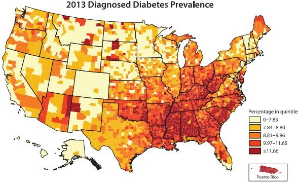CDC heat map of diabetic popuations in the US with high density in southeast - especially in the midsouth.