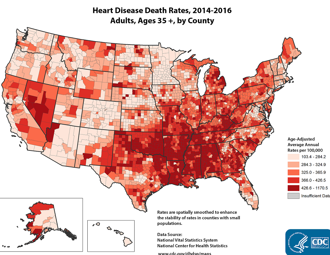 heart diseaseCDC heat map of popuations with heart disease in the US with high density in southeast - especially in the midsouth.