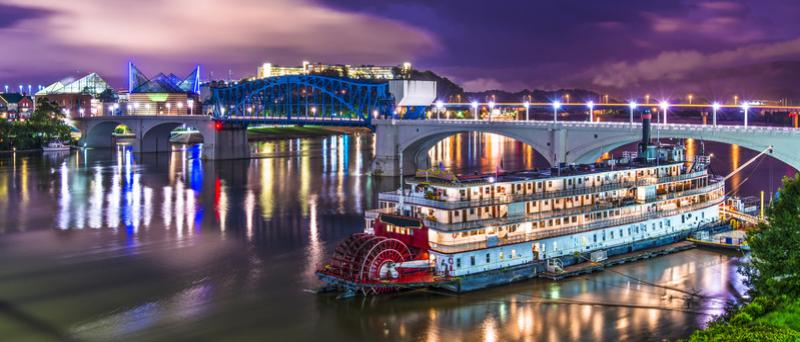 Riverboat and Chattanooga Bridges at Night