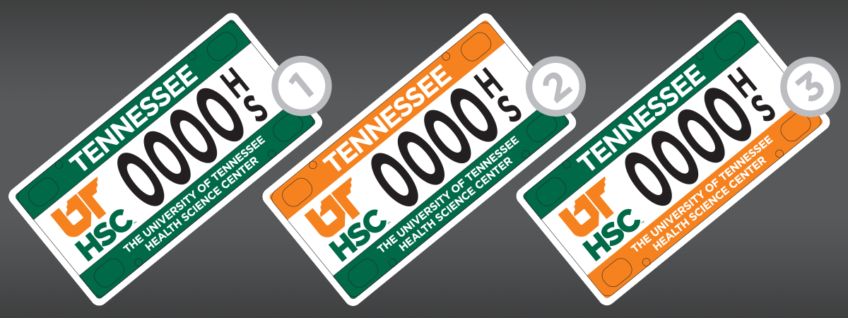 "License plate number one has two green bars on the top and bottom with the UTHSC logo to the left of the license plate numbers. Number 2 has an orange bar on the top and a green bar on the bottom with the UTHSC logo to the left of the license plate numbers. Number three has a green bar on top and an orange bar on the bottom with the UTHSC logo to the left of the license plate numbers. All options say ""The University of Tennessee Health Science Center"" across the bottom bar."