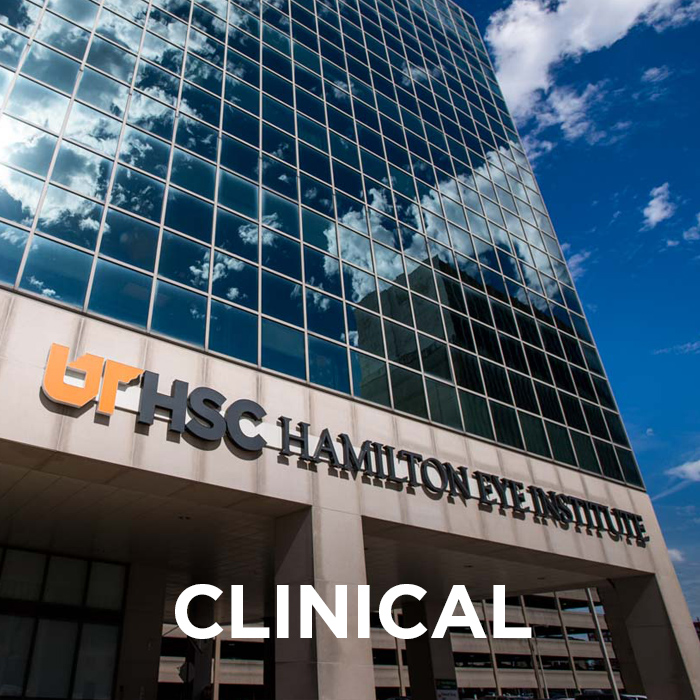 "Exterior of the Hamilton Eye building with the word ""clinical"" at the bottom. Click this image to visit the clinical pages of Hamilton Eye."