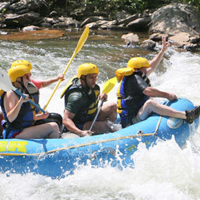 Residents rafting as a team building exercise