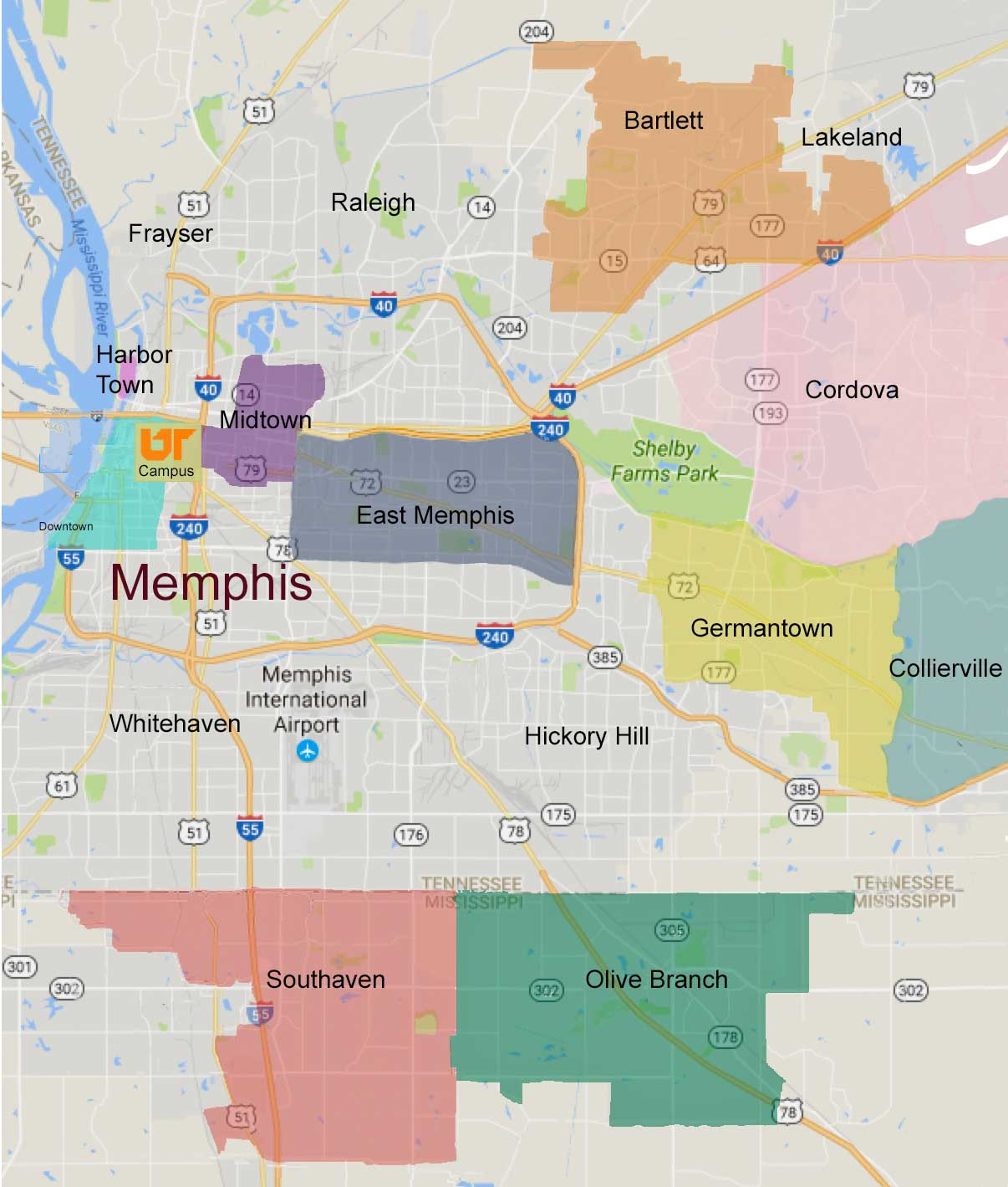 map of Memphis neighborhoods