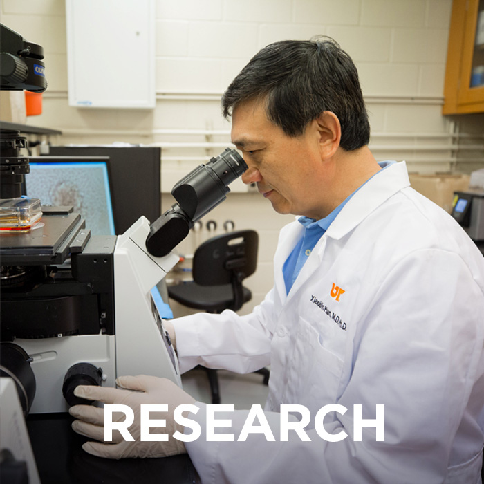 "Photo of Physiology researcher looking into a microscope. The word ""Research"" is imposed on top of the image."