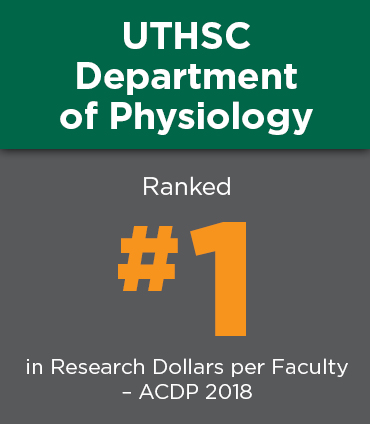 UTHSC Department of Physiology - ranked number one in research dollars per faculty by the ACDP in 2018.