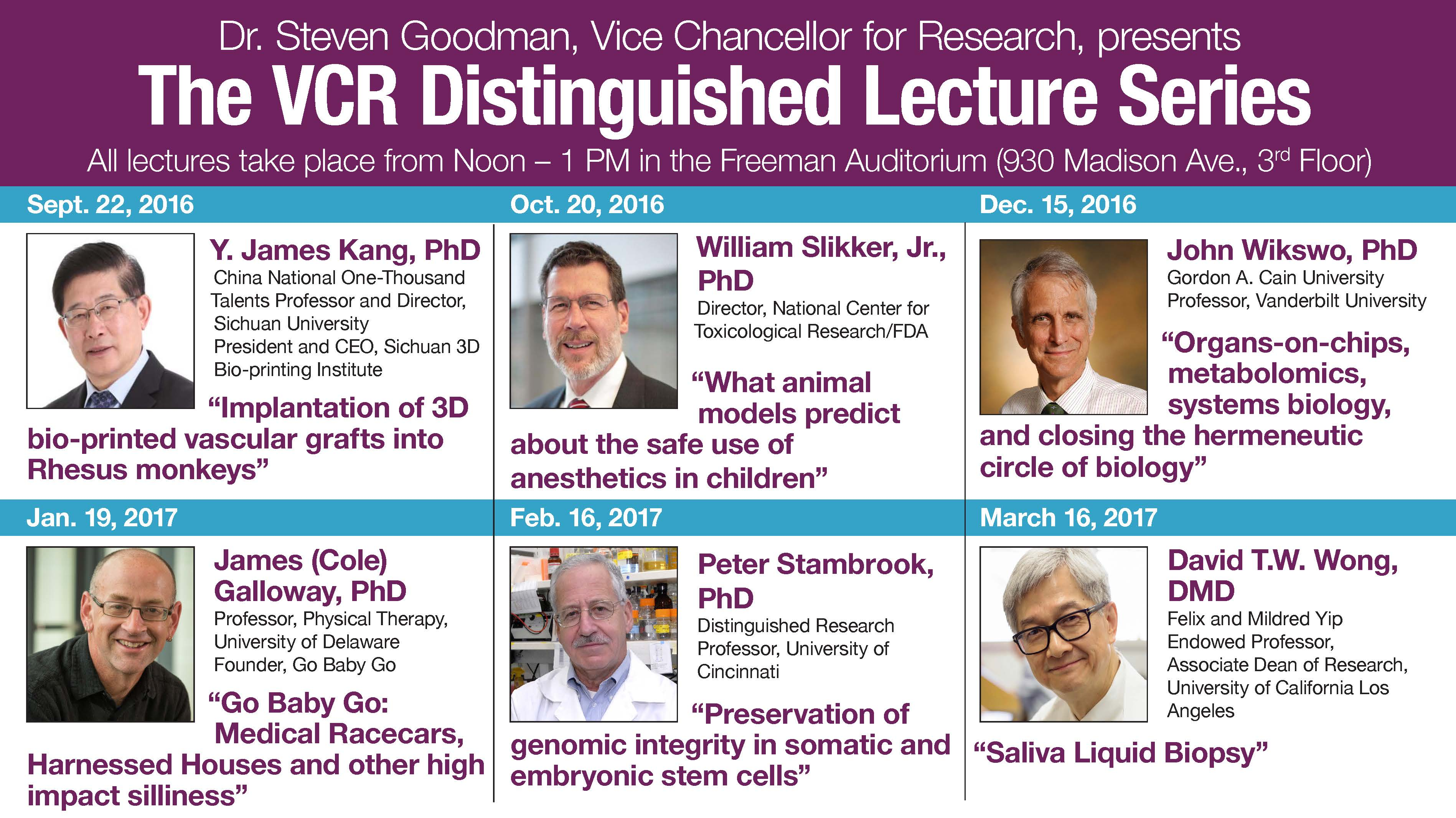 VCR Distinguished Lecture Series Event Schedule